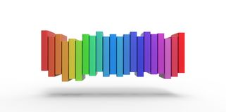 Row stack of colorful books on a plain background Royalty Free Stock Photo