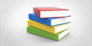 Row stack of colorful books on a plain background.  Royalty Free Stock Photos