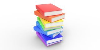 Row stack of colorful books on a plain background.  Royalty Free Stock Photography