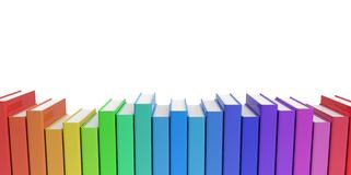Row stack of colorful books on a plain background Royalty Free Stock Images