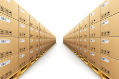 Row of stacked cardbaord boxes on shipping pallets. Creative abstract shipment, logistics, delivery and product distribution business industrial commercial Royalty Free Stock Photo
