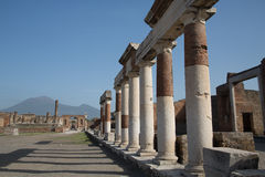 Row of Standing Columns in Pompeii Royalty Free Stock Photo