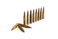 Row of standing  M16 cartridges i Stock Images