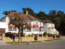 Row of stately English houses. In a London suburb royalty free stock photography