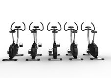 Row Of Stationary Bikes - Back View Stock Image