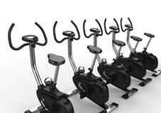 Row Of Stationary Bikes Stock Photo