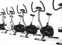 Row Of Stationary Bikes Stock Photography