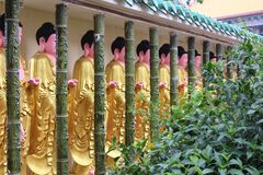 Row of statues at Chinese Buddhist temple Kek Lok Si Georgetown Malaysia Royalty Free Stock Photo