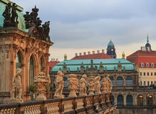 Row of statues  at Zwinger palace in Dresden Royalty Free Stock Photos