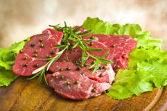 Row Steak whit green pepper Royalty Free Stock Photography