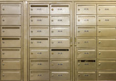 Row of steel lockers on background. Royalty Free Stock Image
