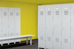 Row of Steel Lockers with bench Stock Photography