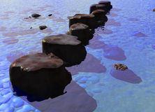 Row of Stepping Stones in a Blue Ocean River Scene Stock Image