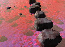 Row of Stepping Stones in a Red Ocean River Scene Stock Images