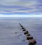 Row of Stepping Stones to Ocean Sea Horizon Stock Photo