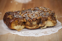 A row of Sticky Buns with Nuts Royalty Free Stock Photos