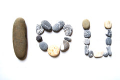 A row of stone. Row of stone that make sentence i love you Royalty Free Stock Photo