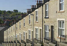 Row Stone and Slate Terraced Houses Lancashire Stock Image