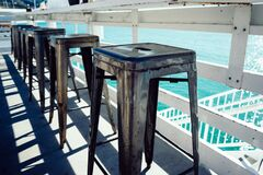 Row of stool by water