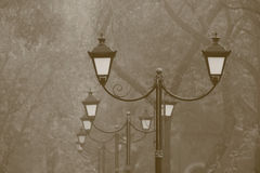 Row of street lamps in park Stock Images