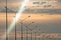 Row of streetlights at twilight Stock Photography