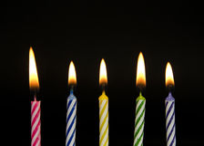 Row of striped birthday candles Royalty Free Stock Photo