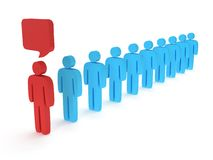 Row of stylized people with chat bubble. 3d render Stock Photography