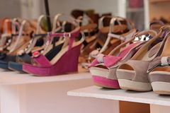 Row of suede shoes for sale Royalty Free Stock Images