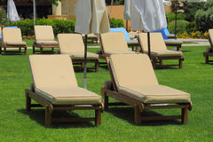 Row of sunbeds Royalty Free Stock Images