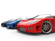 Row of super sportscars Royalty Free Stock Photo