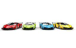Row of supercars - primary colors Royalty Free Stock Photos