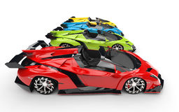 Row of supercars - primary colors Royalty Free Stock Image