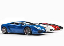 Row Of Supercars Side View Royalty Free Stock Image