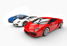 Row Of Supercars Top Angle View Stock Photos