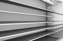 Row of supermarket shelves close-up Royalty Free Stock Photography