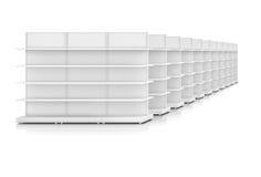 Row of supermarket shelves stock illustration