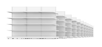 Row of supermarket shelves Stock Photos