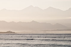 Row of surfers. A row of surfers waiting for the right wave in Gili Trawangan, Indonesia Stock Photography
