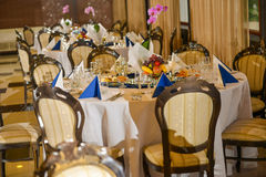 Row of tables arranged Royalty Free Stock Photography