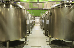 Row of tanks in microbrewery Stock Images