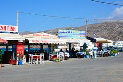 Row of tavernas, Milatos. Royalty Free Stock Photography