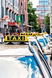 Row of Taxi cabs waiting in Berlin downtown, Germany Royalty Free Stock Photography