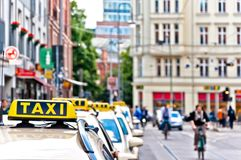 Row of Taxi cabs waiting in Berlin downtown, Germany Royalty Free Stock Image