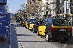 Taxi stand in Barcelona. Spain Stock Photos
