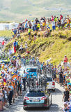 Row of Technical Cars in Mountains - Tour de France 2016 Stock Photography