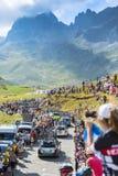 Row of Technical Cars in Mountains - Tour de France 2016 Stock Photos