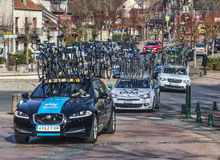 Row of Technical Teams Cars- Paris Nice 2013. Saint-Pierre-lès-Nemours,France- March 4, 2013: Row of technical teams cars following the cyclists during the Stock Images