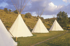 Row of teepees in Aspen, CO royalty free stock photos
