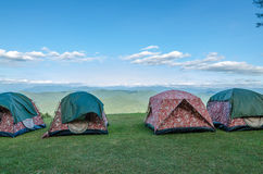 Row of tent on hill Royalty Free Stock Images