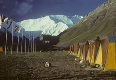 Row of tents & flags Royalty Free Stock Photography